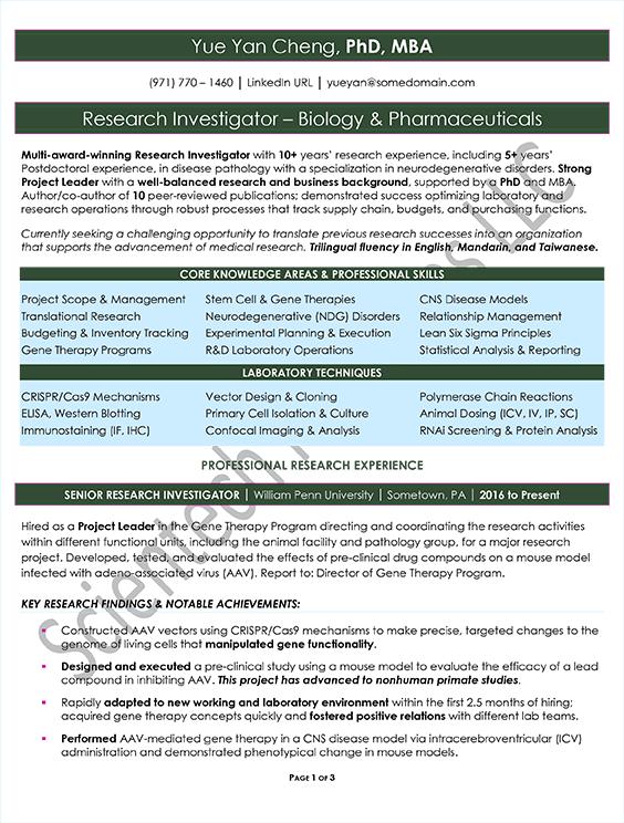 International Professional Samples – Scientech Resumes LLC
